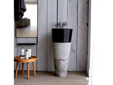Vasque noir sur pied en marbre Koni