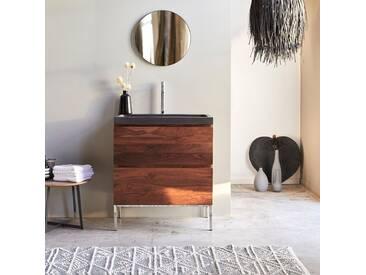 Meuble Salle de bain en bois de palissandre et pierre de lave 80 Nova