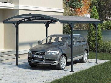 Carport en aluminium gris et polycarbonate - HISPANO 5000 - 14,2m²