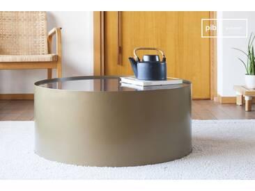 Table basse en laiton et marbre Dickinson