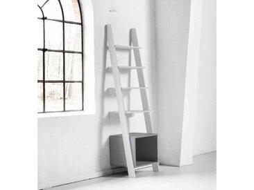 Étagère de rangement design bois blanc et gris