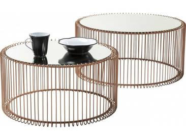 Tables basses rondes Wire cuivre set de 2 Kare Design