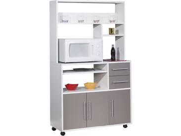 Armoire de cuisine Cesar pour four à micro-ondes - blanc/taupe