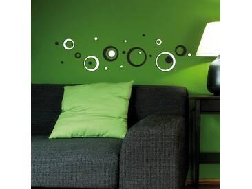 Stickers muraux 3D Circles en noir & blanc - mousse