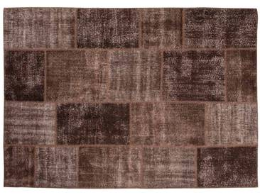 Azra: 80cm x 100cm Fair Trade Patchwork détresse Tapis de Turquie à Brown Couleur, Destockage