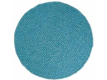 Menkhu - rond: 180cm Feutrés de laine Boules Tapis de Boules Turquoise main par Fair Trade femmes