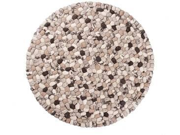 Dhruv - rond: 300cm 90cm à 300cm, indien pierre tapis feutrés dans Beige Brown Couleur Grand laine ronde Royaume-Uni