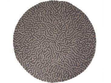 Aruna - rond: 70cm Double Gris rondes indiennes Tapis de Boules feutrés Balls Interior Design