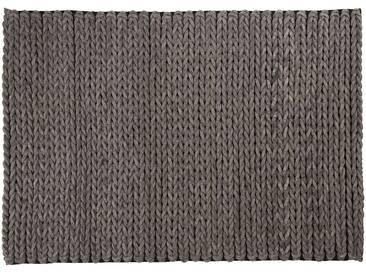 Kamar: 170cm x 240cm tapis de salon, anthracite, tapis de feutre tressés, fait à la main en Inde, laine