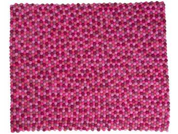 Aayusha - rectangulaire: 150cm x 200cm Foire Felt Balls tapis du Népal en rose frais Couleurs, Acheter en ligne