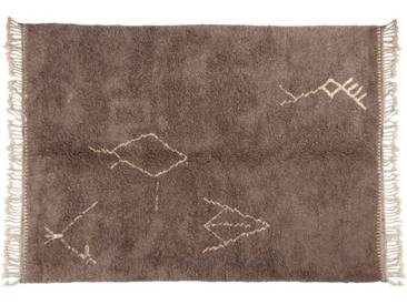Malika – Gris: 150cm x 200cm tapis berbères marocains, symboles tribaux, faits à la main au Maroc, laine à poils longs, Beni Ouarain