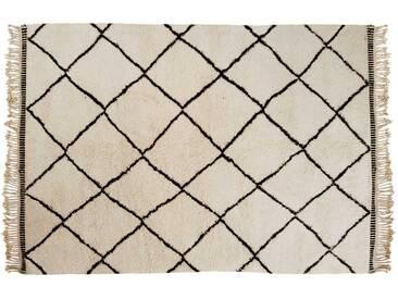Khadija: 100cm x 140cm Beni Ouarain Tapis Berbere Marocain, Tapis Blanc de Laine