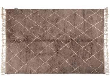 Khadija - Gris: 300cm x 400cm moquette marocaine, style berbère, noué à la main gris, tapis en laine, motif losange