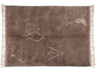 Malika – Gris: 80cm x 100cm tapis berbères marocains, symboles tribaux, faits à la main au Maroc, laine à poils longs, Beni Ouarain