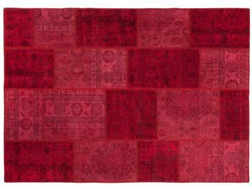Merve: 150cm x 200cm Rouge Patchwork persans Tapis recolorés boutiques en ligne,Extra Large, Livraison gratuite