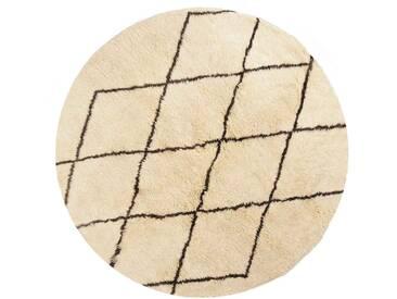Aicha - Rond: 140cm tapis berbères ronds, laine de mouton blanc, motif de diamant, dernière tendance, noué à la main, chambre à coucher