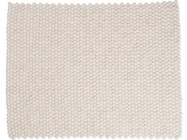 Shirisha - rectangulaire: 150cm x 200cm Pur Design Scandinave Blanc Tapis de Boules de Laine Fait Main