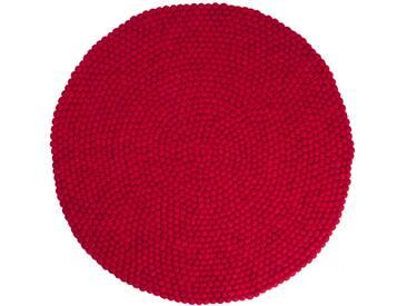 Jass - rond: 140cm 90cm à 300cm, rond rouge népalais Balles Tapis de Boules moelleux Texture Laine à la main