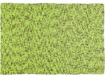 Lilamaya:  Tapis gris vert fluorescent, fait a la main a partir de laine de Marino