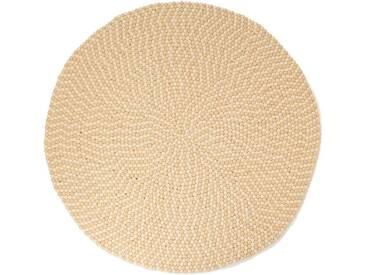 Sang - rond: 150cm Deux tons de blanc Balles dans Confortable ronde laine Tapis de Boules