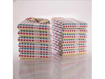 Lot de 6 torchons : 30x50cmmulticolore  Essuie-mains éponge fond clair - Lots
