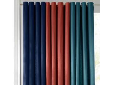 Rideau : largeur 135 x hauteur 260cmbleu paon  Rideau oeillets bachette unie