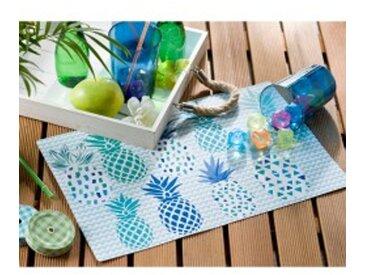 Lot 4 sets de table rectangulaire 44 x 28.5cmbleu / vert  Set de table ananas - lot de 4