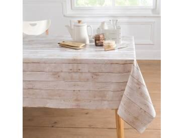 Nappe ronde : diam 140cmblanc / gris  Nappe toile cirée effet bois blanchi