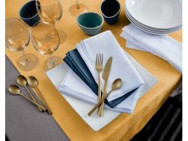 Lot de 3 sets de table : 45x45cmbleu pétrole Nappe coton jacquard damassé