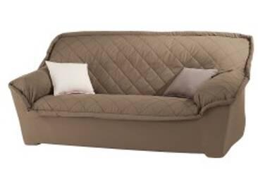 Housse canapé 3 placestaupe  Housse canapé fauteuil accoudoirs bachette