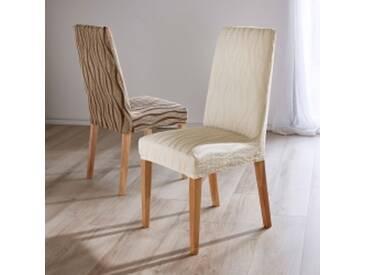 Lot 2 housses de chaiseécru Housse chaise extensible jacquard - lot de 2