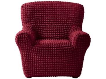 Housse canapé 3 placesbordeaux Housse fauteuil canapé bi-extensible smockée
