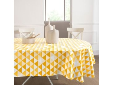 Nappe ovale : 140x240cmmoutarde  Nappe toile cirée motif triangles