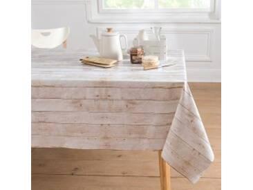 Métrage en 140cmblanc / gris  Métrage toile cirée effet bois blanchi