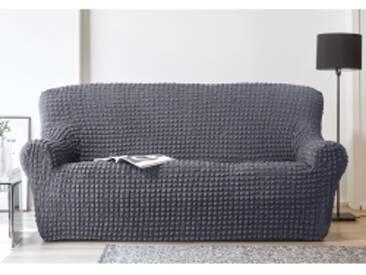 Housse canapé 2 placesgris  Housse fauteuil canapé bi-extensible smockée