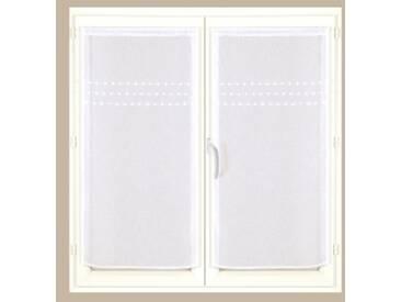 Rideau : largeur 60 x hauteur 160cmblanc  Vitrage étamine pompons – lot de 2