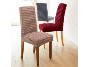 Lot de 2 housses de chaise : dossier et assisegris Housse chaise dossier + assise  bi-extensible smockée - lot de 2