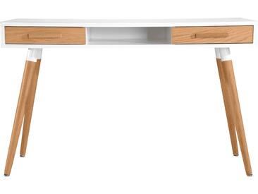 Soldes - Bureau  Vejen blanc et chêne 2 tiroirs