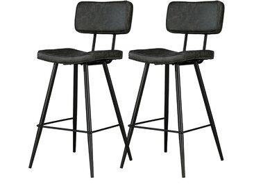 Chaise de bar Texas noire 65 cm (lot de 2)