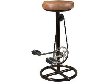 Tabouret de bar indus Gaya en cuir 76 cm
