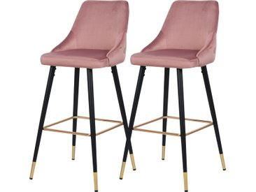 Chaise de bar Aristote en velours rose (lot de 2)