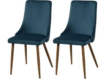 Chaise Vinni en velours bleu (lot de 2)
