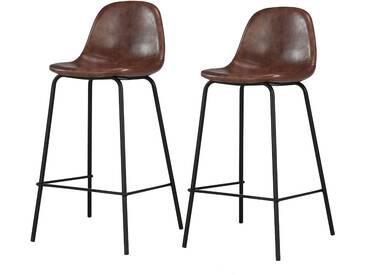 Soldes - Chaise de bar Henrik marron 65 cm (lot de 2)