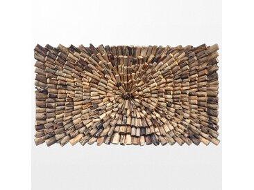 Eclats de bois naturels sur tableau décoratif ethnique