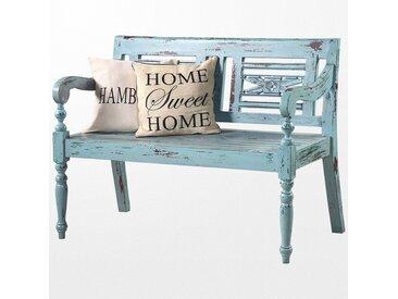 Banc en bois design de jardin et sa couleur bleue délavée