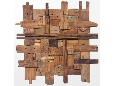 Grand tableau en bois exotique de 100 x 100 cm