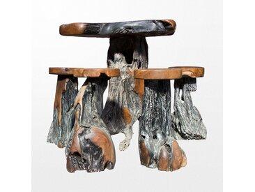 Ensemble de mange-debout en bois au style primitif avec ses 4 tabouret en teck assortis