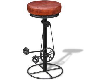 Tabouret de bar avec pédales de vélo Cuir véritable Marron et noir - vidaXL