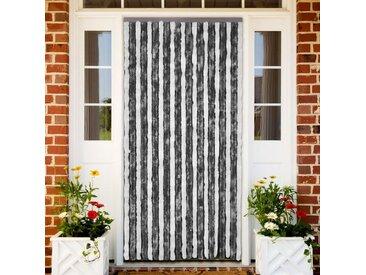 Rideau de porte chenille gris et blanc 100 x 220 cm - vidaXL