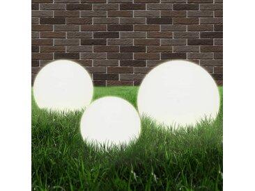Jeu de lampe boule à LED 3 pcs PMMA sphérique 20/30/40 cm - vidaXL